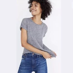 Madewell Whisper Cotton Crewneck Tee Heather Gray